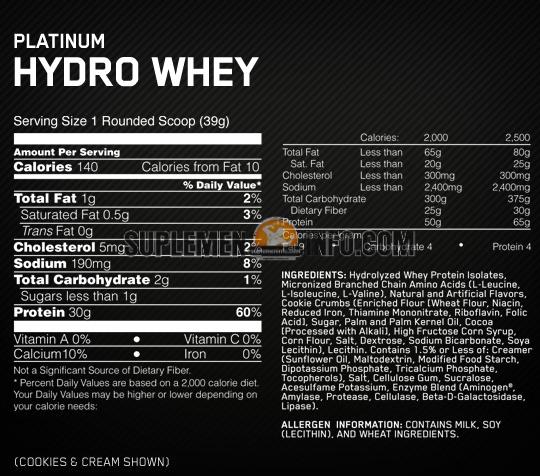 Optimum Nutrition Platinum Hydrowhey2